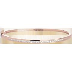 Bracelet Jonc barrette or rose - 0.75 carats - 25 diamants