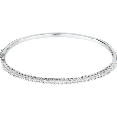 Bracelet jonc or blanc 18 carats semi pavé - 1 carats - 37 diamants