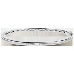 Bracelet Jonc Promesse - or blanc et diamants - 9 carats