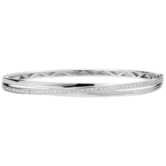 Bracelet Jonc Saturne Diamant - or blanc - 18 carats