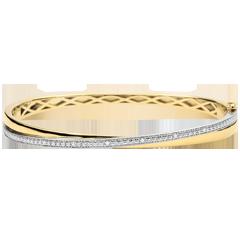 Bracelet Jonc Saturne Duo , diamants , or blanc et or jaune 9 carats