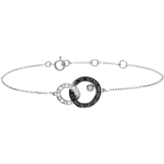 Bracelet or blanc 9 carats Clair Obscur - Duo de Lunes - diamants noirs et blancs
