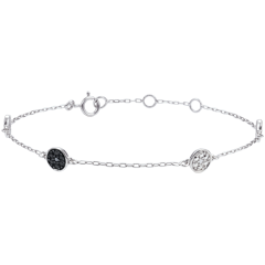 Bracelet or blanc 9 carats Myriade d'étoiles - diamants blancs et diamants noirs