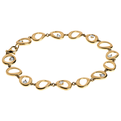 Bracelet pampilles or jaune 18 carats et diamants - 8 diamants