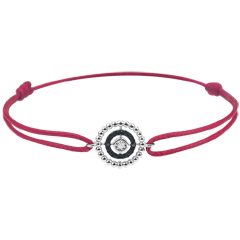 Bracelet Salty Flower - circle - white gold and diamonds - red cord