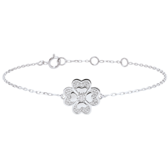 Bracelet Solitair Freshness - Sparkling Clover - white gold and diamonds