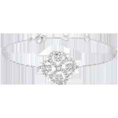 Bracelet Solitaire Fraicheur - Trèfle Arabesque - or blanc 9 carats et diamants