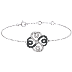 Bracelet Solitaire Fraicheur - Trèfle Arabesque - or blanc diamants blancs et diamants noirs