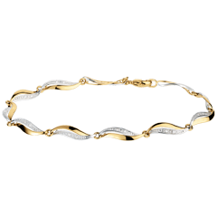 Bracelet Torsade - 22 diamants - or blanc et or jaune 18 carats