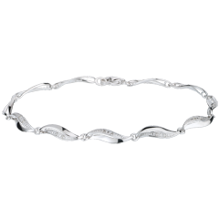 Bracelet Torsade or blanc 18 carats - 22 diamants