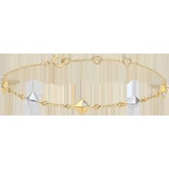 Bransoletka Geneza - Diamenty nieoszlifowane - dwa rodzaje złota - 5 motywów - złoto białe i złoto żółte 9-karatowe