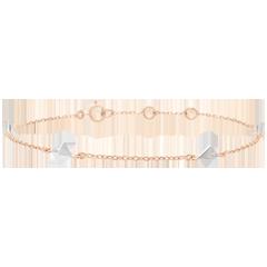 Bransoletka Geneza - Diamenty nieoszlifowane - złoto białe i złoto różowe 18-karatowe