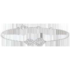 Bransoletka Nieskończoność - złoto białe 9-karatowe i diamenty