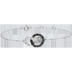 Bransoletka Światłocień - Dwa Księżyce - diamenty czarne i białe - złoto białe 18-karatowe