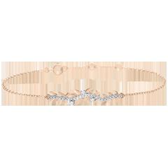 Bransoletka Zaczarowany Ogród - Królewskie Liście - złoto różowe 18-karatowe i diamenty