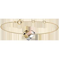 Brazalete Corazón Plegado - 3 oros de 9 quilates