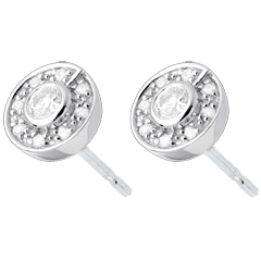 Button Stud Earrings white gold - 0.25 carat