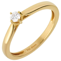 Carriage Solitaire Ring - diamond 0.11 carat - yellow gold
