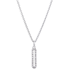 Cartouche pavée Necklace - 9K White Gold and Diamonds