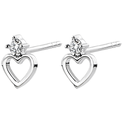 Cercei Abundenţă - Inimă Anahata - aur alb 9K şi diamante