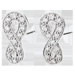 Cercei Infinit - aur alb de 9K şi diamante