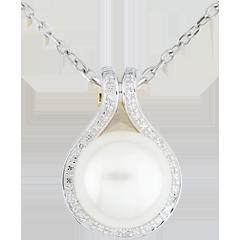 Ciondolo Adelia - Oro bianco e Oro giallo - 9 carati - 7 Diamanti - 1 Perla - 7.13 carati