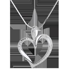 Ciondolo Arty Cuore - Oro bianco - 18 carati - 10 Diamanti