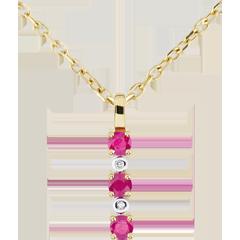 Ciondolo Clarisse - Oro giallo - 9 carati - 2 Diamanti - 3 Rubini