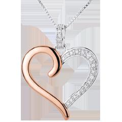 Ciondolo Cuore Amazzone - Oro bianco e Oro rosa - 18 carati - 5 Diamanti