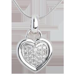 Ciondolo Cuore pavé - Oro bianco - 18 carati - 7 Diamanti - 0.41 carati