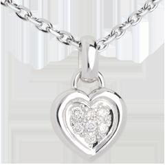 Ciondolo Cuore pavé - Oro bianco - 18 carati - 7 Diamanti