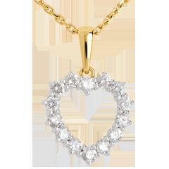 Ciondolo Cuore Scavato diamanti - Oro bianco e Oro giallo - 18 carati - 14 Diamanti - 0.9 carati