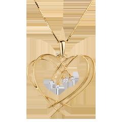 Ciondolo Cuore e scintille - Oro giallo - 18 carati - 4 Diamanti