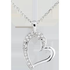 Ciondolo Cuore Twist -Oro bianco - 9 carati - 5 Diamanti