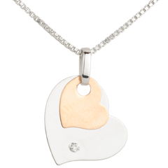 Ciondolo Cuori Moderni - Oro rosa e Oro bianco - 9 carati - Diamante