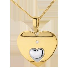 Ciondolo Cuori uniti - Oro giallo e Oro bianco - 9 carati - Diamante