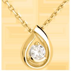 Ciondolo Lacrima diamante - Oro giallo - 18 carati - Diamante - 0.21 carati
