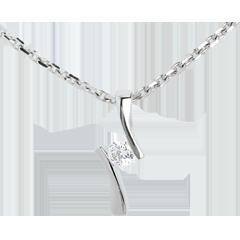 Ciondolo Nido Prezioso - Apostrofo diamante - Oro bianco - 18 carati - Diamante