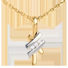Ciondolo Nido Prezioso - Sinogramma Trilogia - Oro giallo e Oro bianco - 18 carati - 3 Diamanti