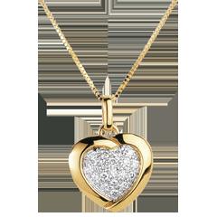 Ciondolo Sweet Heart - Oro giallo e Oro bianco - 18 carati - 18 Diamanti - 0.2 carati