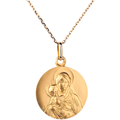 Classic medal of the Blessed Virgin and child - 18mm - 9 carats