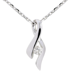 Colgante Brillo Eterno - Infinito- Oro blanco - Diamante 0.125 quilate - 18 quilates