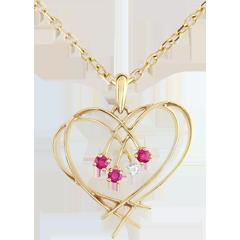Colgante Corazón Destellos - oro amarillo 9 quilates - diamante y rubíes