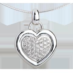 Colgante corazón empedrado oro blanco - 0.75 quilates - 31 diamantes