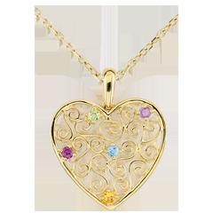 Colgante Corazón Encaje - oro amarillo 9 quilates