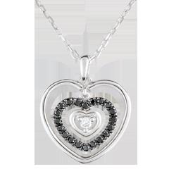 Colgante Corazón Orma - oro blanco 18 quilates y diamantes negros