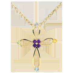 Colgante cruz Bizantina oval - oro amarillo 9 quilates