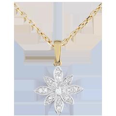 Colgante Flor de Estrella - oro blanco y oro amarillo 9 quilates