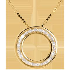 Colier pendul din aur galben de 18K pavat - 22 diamante