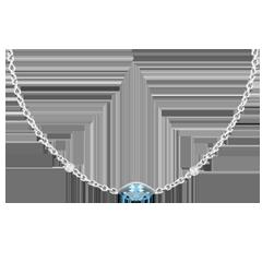 Colier Privire din Orient - topaz albastru şi diamante - aur alb de 9K